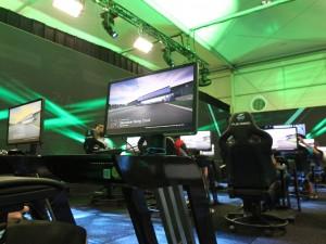 L'installation avec la TV, une Xbox et un fauteuil.