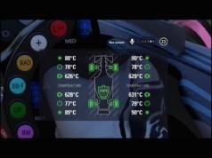 Zoom sur les températures de chaque pneus (extérieur et carcasse), freins et moteur.