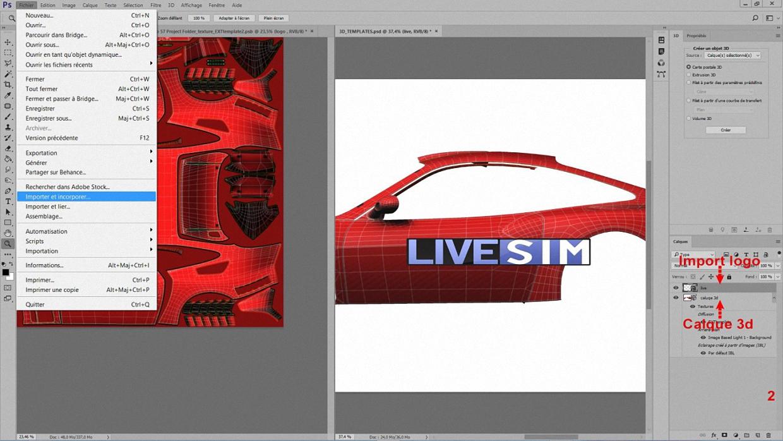 Clic sur la fenêtre  3D puis sur < Fichier > et < Importer et incorporer >. Vous remarquerez que lorsqu'on importe une image, un calque se crée automatiquement à son nom. Dans notre cas, le calque se nomme « Live ».