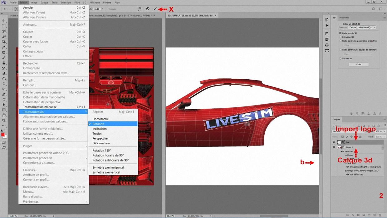 Nous allons utiliser l'outil Rotation pour positionner le logo : sélectionnez le calque logo, puis < Edition >, < Transformation >, et enfin < Rotation >.