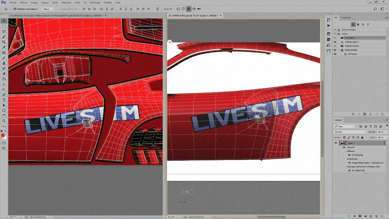 Et voici le résultat ! Dans la fenêtre 3D, le logo est appliqué sur la carrosserie en une seule fois. En 2D, il a subi, lors de la fusion, la découpe pour un placement optimal sur la texture.